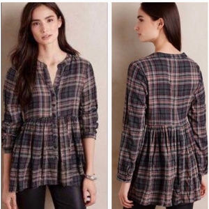 Anthropologie 11•1•Tylho plaid top with ruffle